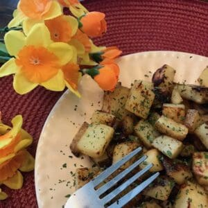 Honey mustard roasted potatoes on a plate