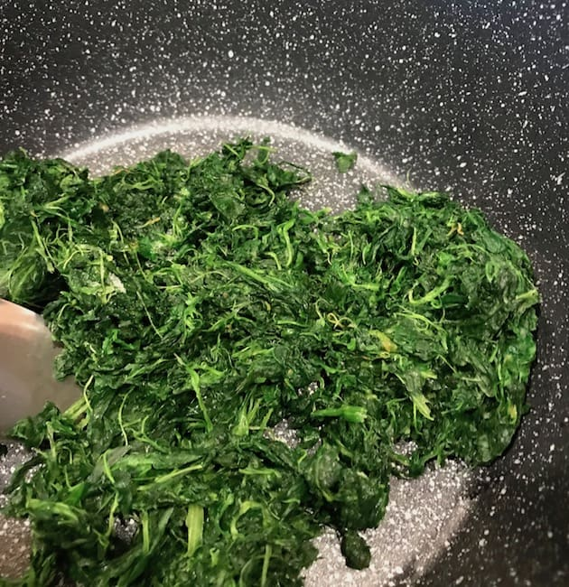 Spinach in a saucepan