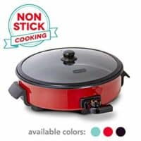 Dash DRG214RD Family Size Rapid Heat Electric Skillet + Hot Oven Cooker with with 14 inch Nonstick Surface + Recipe Book for Pizza, Burgers, Cookies, Fajitas, Breakfast & More, 20 Cup Capacity, Red