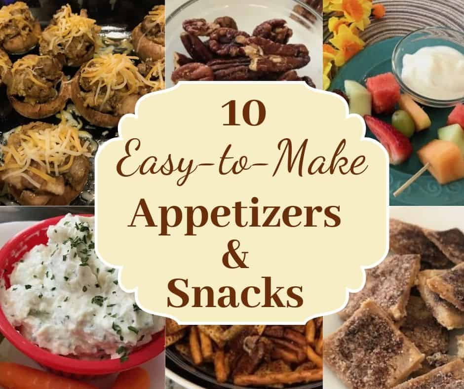 Variety of snacks and appetizers, including stuffed mushrooms, roasted pecans, fruit kabobs, onion dip, party mix, and cinnamon pie crust crisps