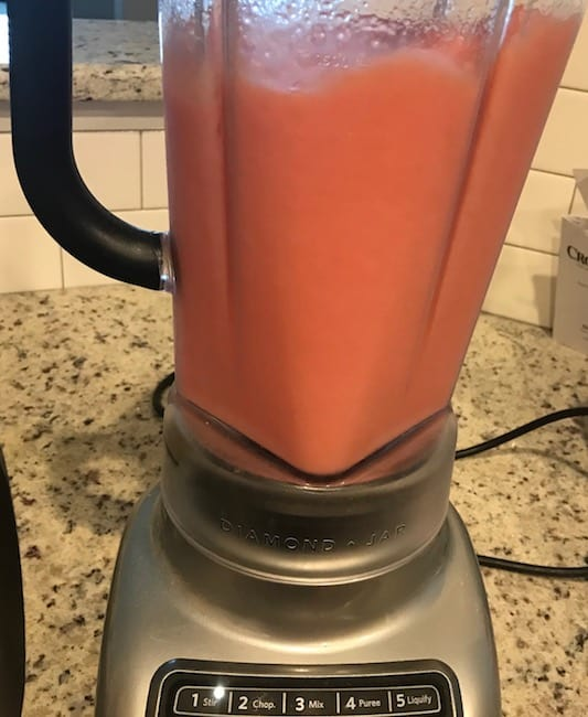 Watermelon lemon smoothie after it's blended in the blender
