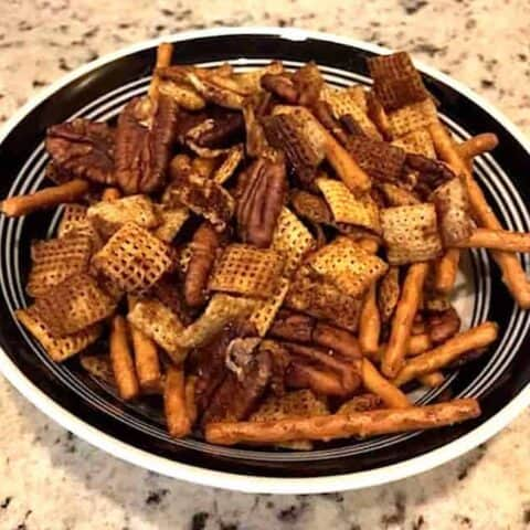 Bowl of Chex party mix