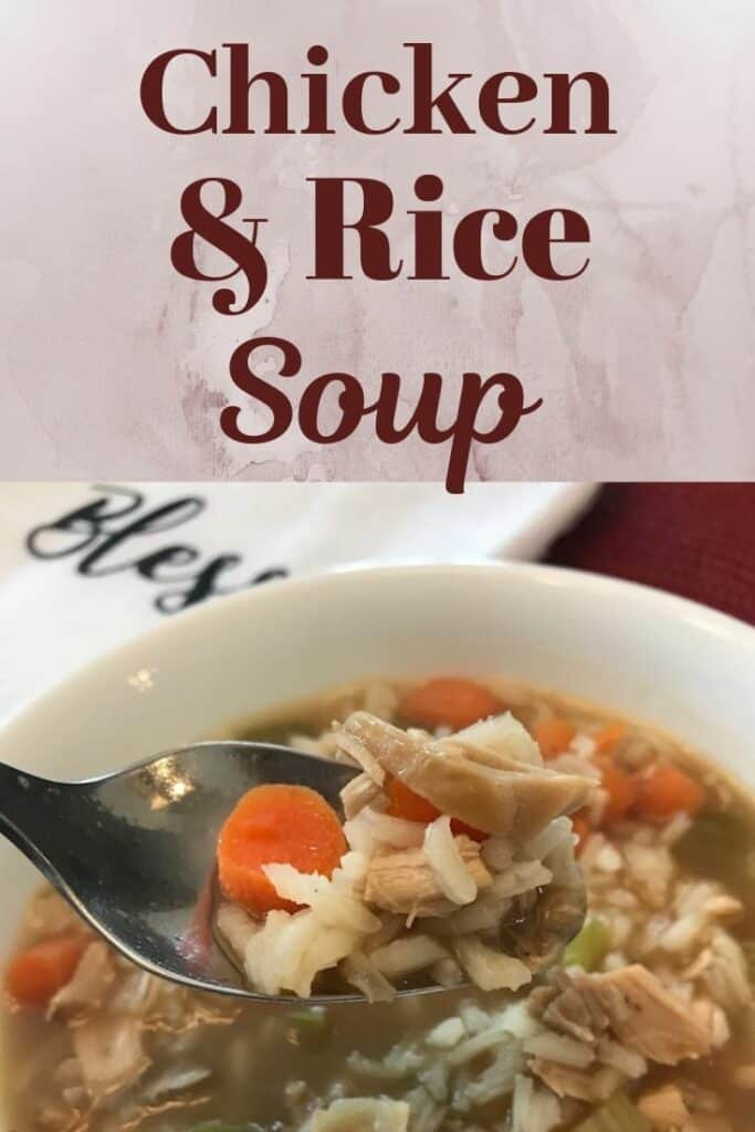 Spoonful of homemade chicken rice soup