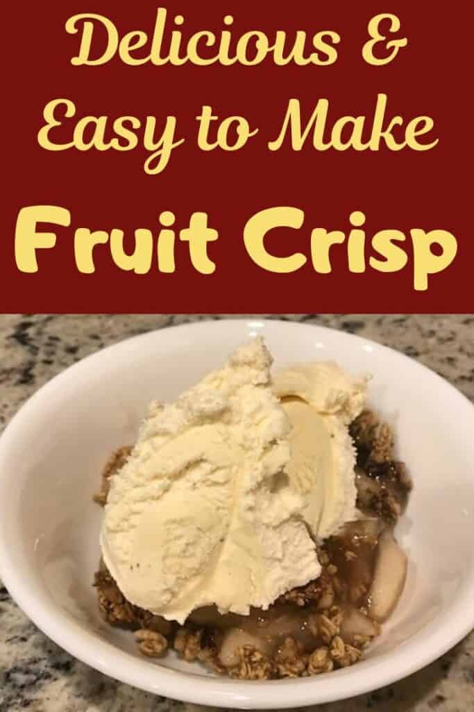 Delicious and easy to make fruit crisp with granola and topped with ice cream.