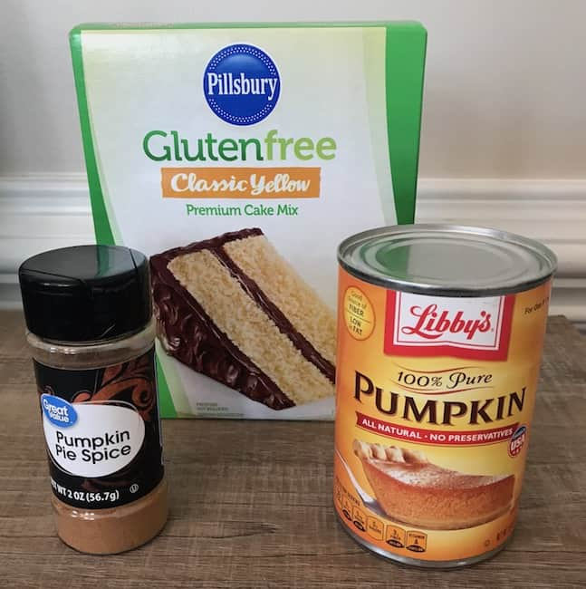 Gluten-free yellow cake mix, pumpkin, and pumpkin pie spice