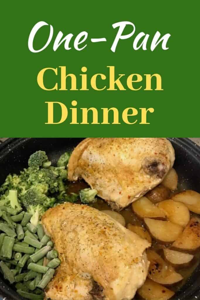 One-pan chicken dinner with chicken, potatoes, and vegetables