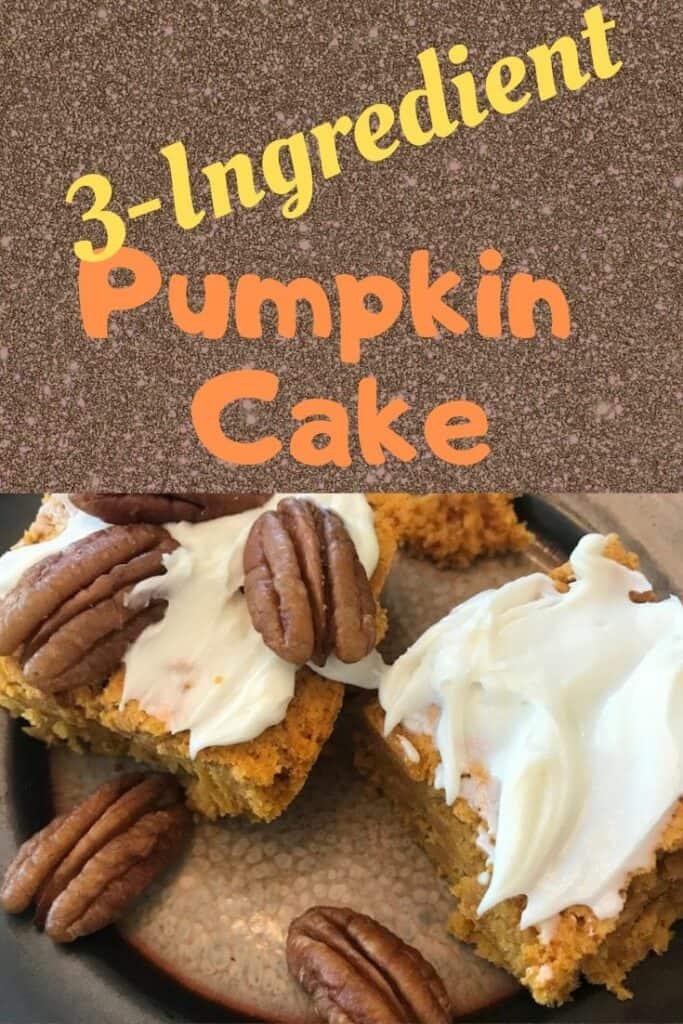 3 ingredient pumpkin cake with pecans
