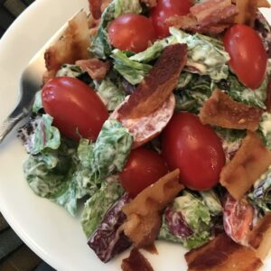 Bacon lettuce and tomato salad on a plate