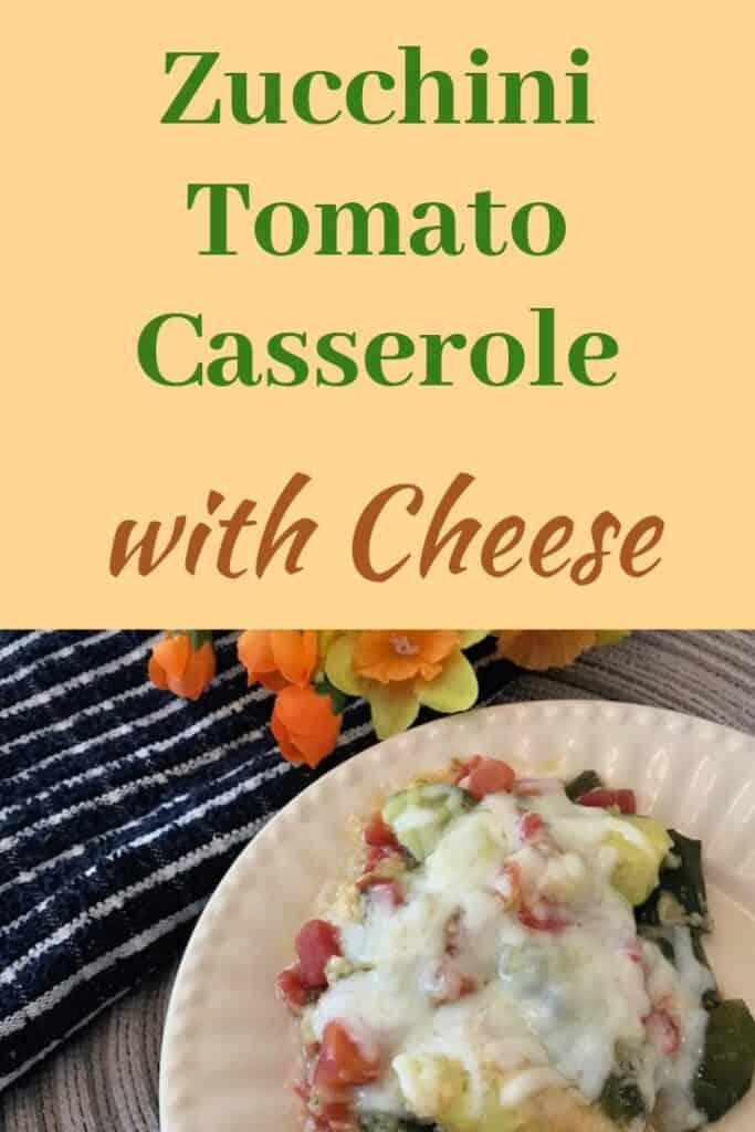 Zucchini and tomato casserole with cheese on a plate