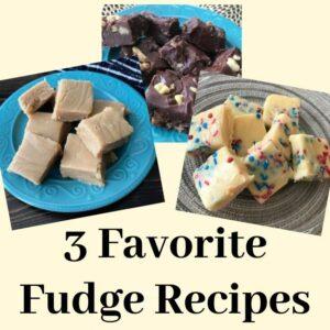 Chocolate, peanut butter, and white chocolate fudge