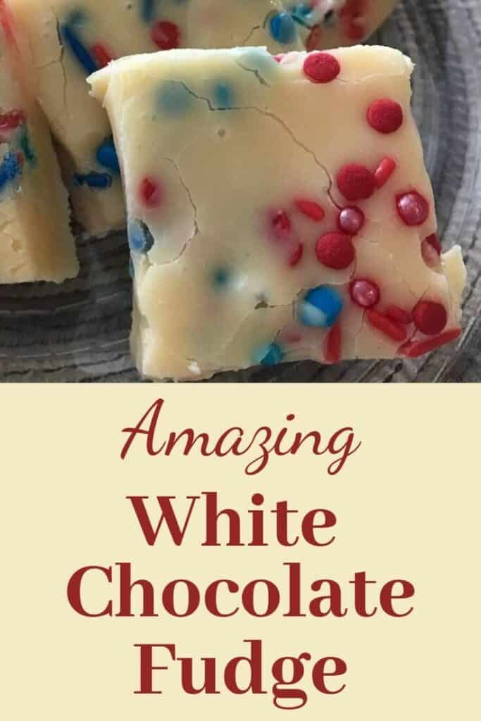 Amazing white chocolate fudge with red and blue sprinkles