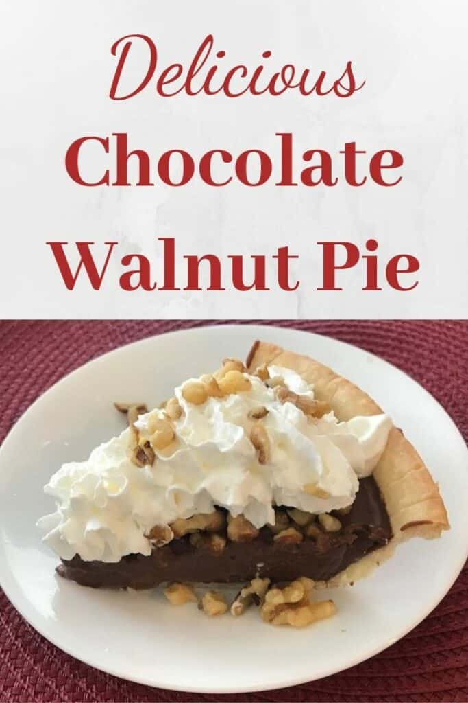 Slice of chocolate walnut pie