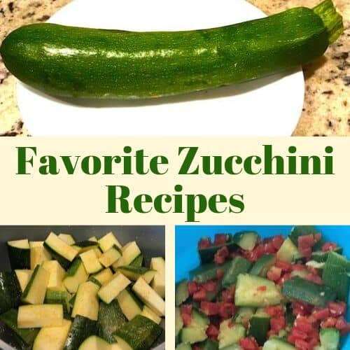 Whole zucchini, cut zucchini, and zucchini with tomatoes