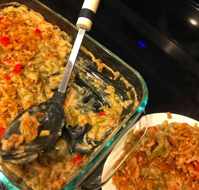Serving green bean casserole