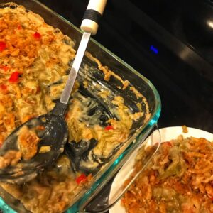 Green bean casserole with pimentos