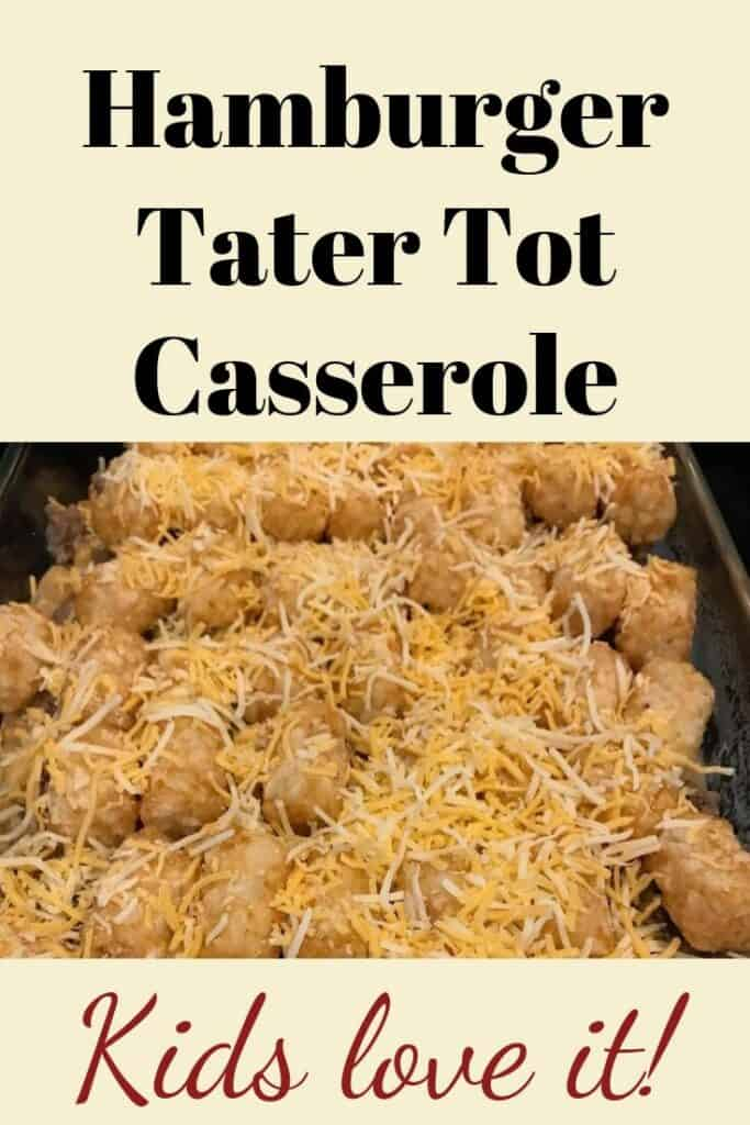 Hamburger Tater Tot casserole in a pan
