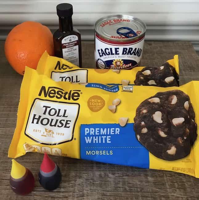 Creamy orange fudge ingredients