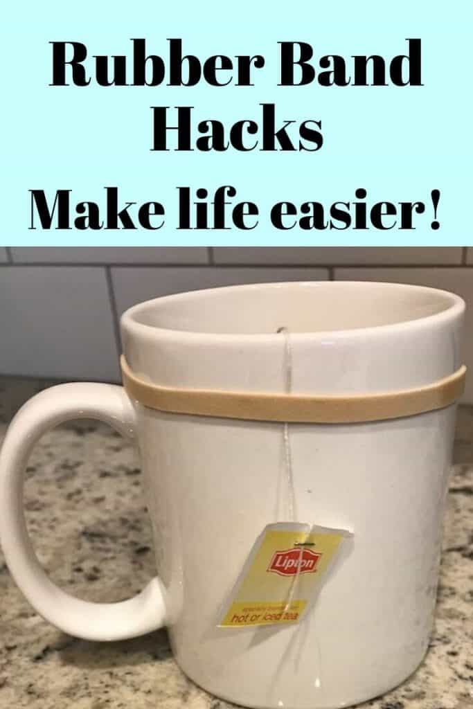 Rubber band hack holding a tea bag string around a cup