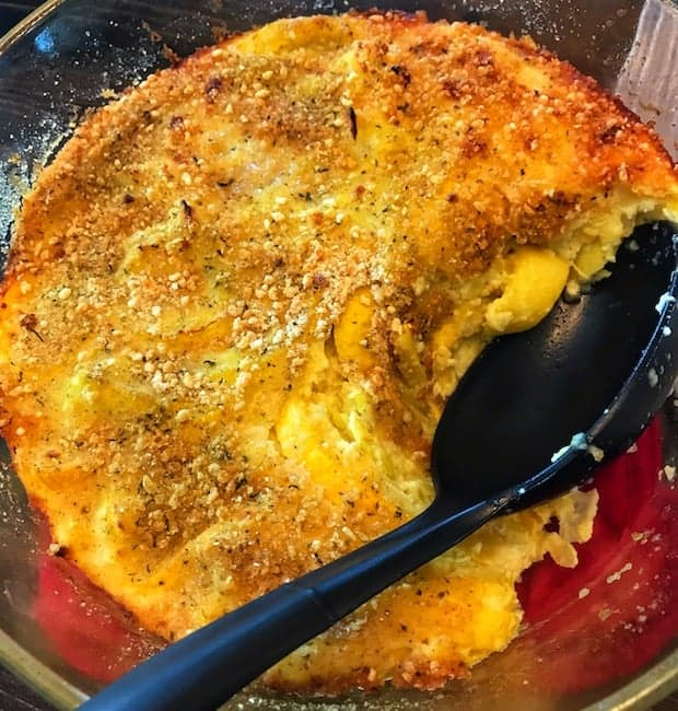 Squash casserole in a pan