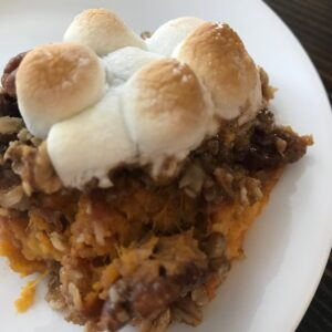 Sweet potato casserole topped with marshmallows