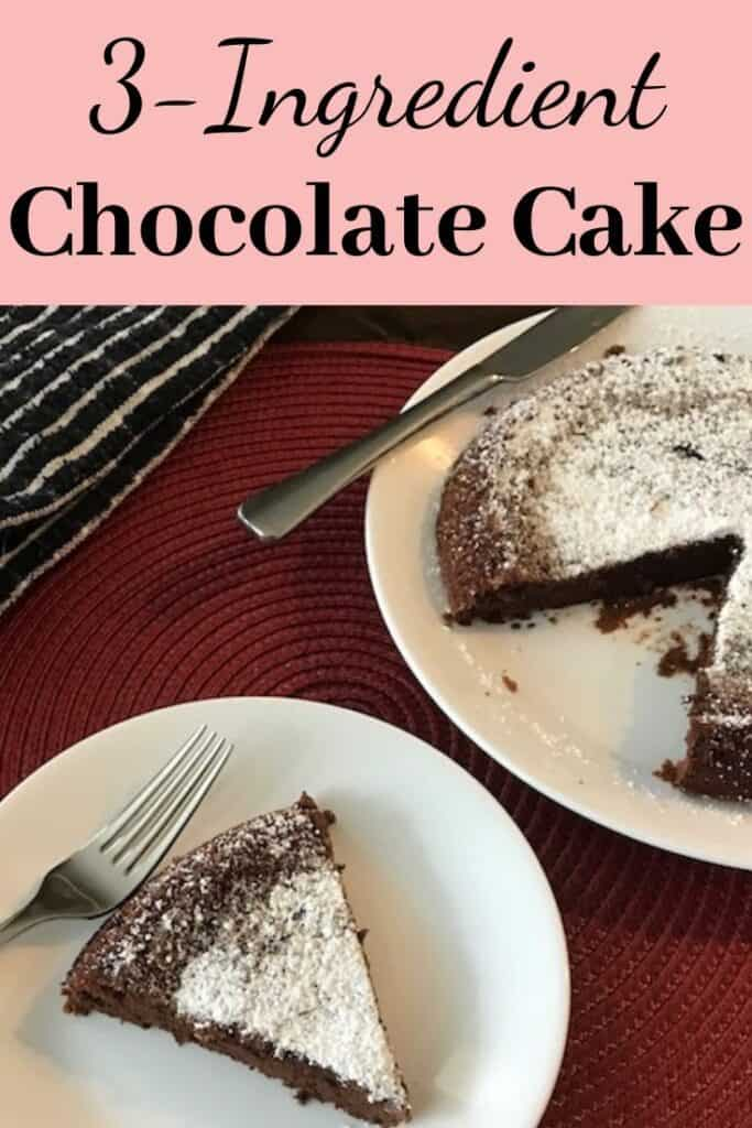 Slice of 3-ingredient chocolate cake beside the whole cake