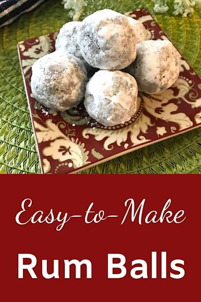 Easy-to-make rum balls on a plate