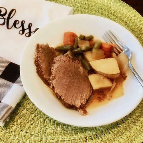Pot roast and vegetables in a bowl