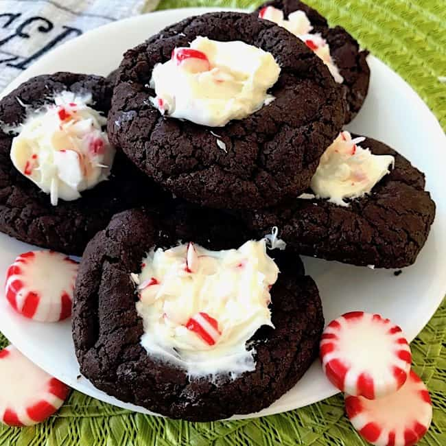 Chocolate peppermint cookies on a plate