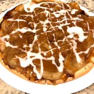 Whole caramel apple pizza