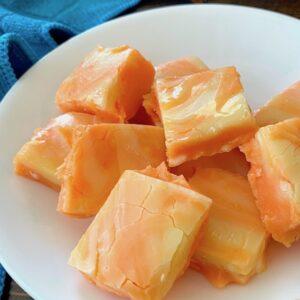 Plate of orange fudge