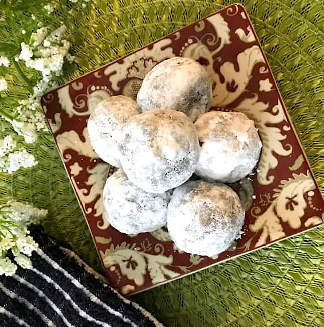 No-bake rum balls on a small plate