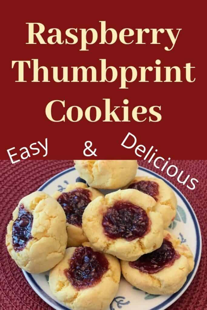 Easy and delicious raspberry thumbprint cookies stacked on a plate