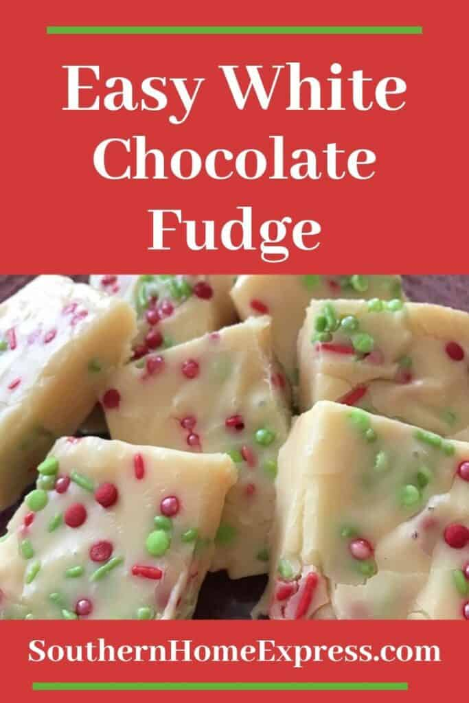 Easy white chocolate fudge decorated with red and green sprinkles