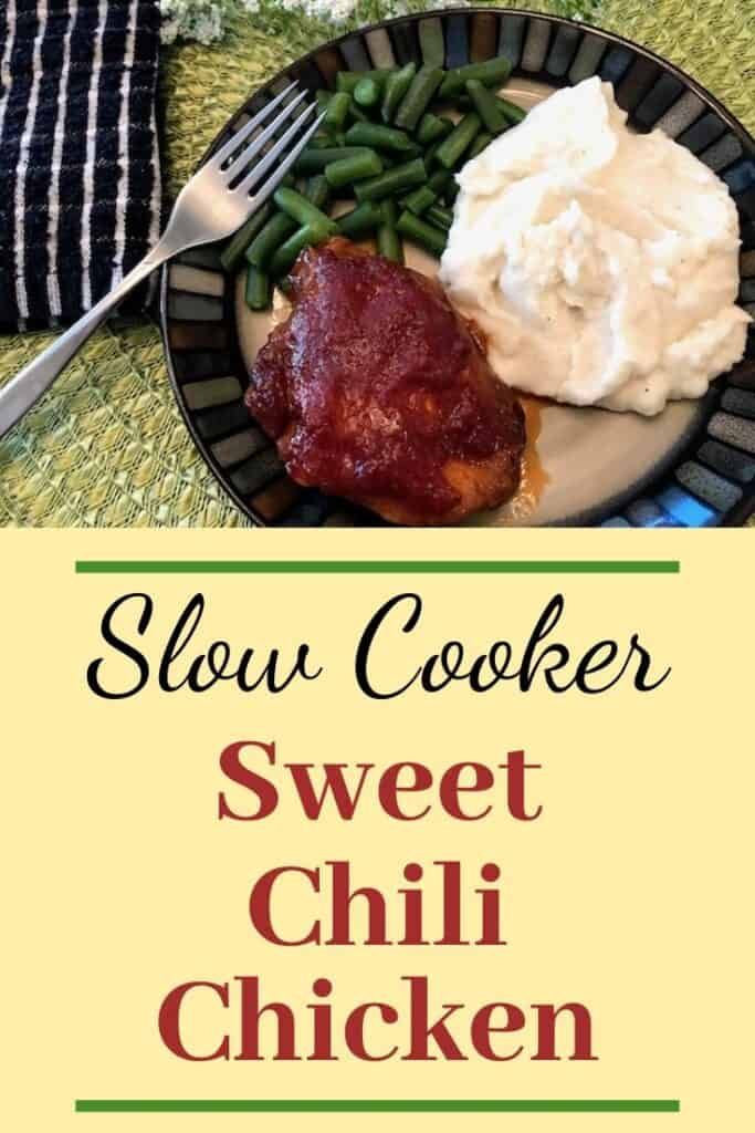 Plate of slow cooker sweet chili chicken, mashed potatoes, and green beans
