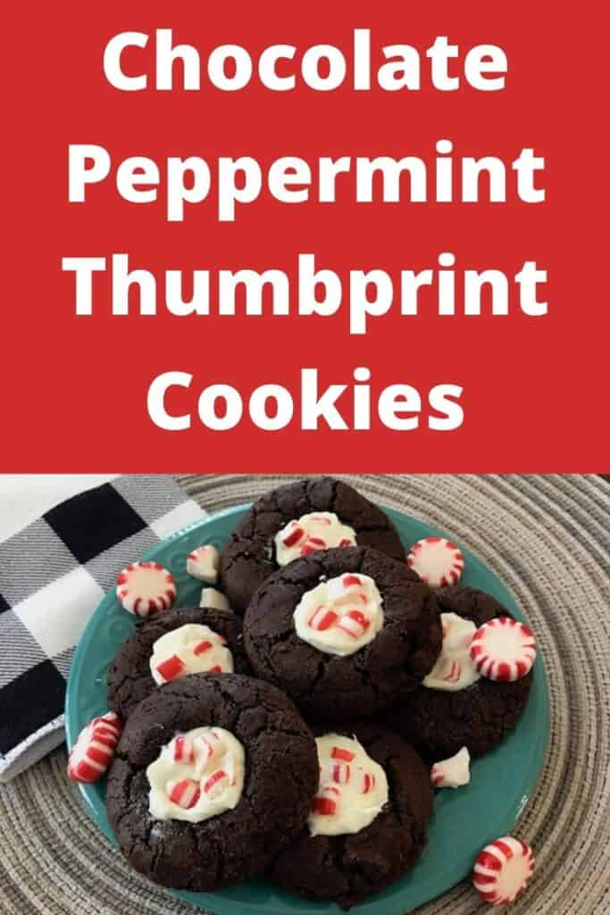 Chocolate peppermint thumbprint cookies on a plate