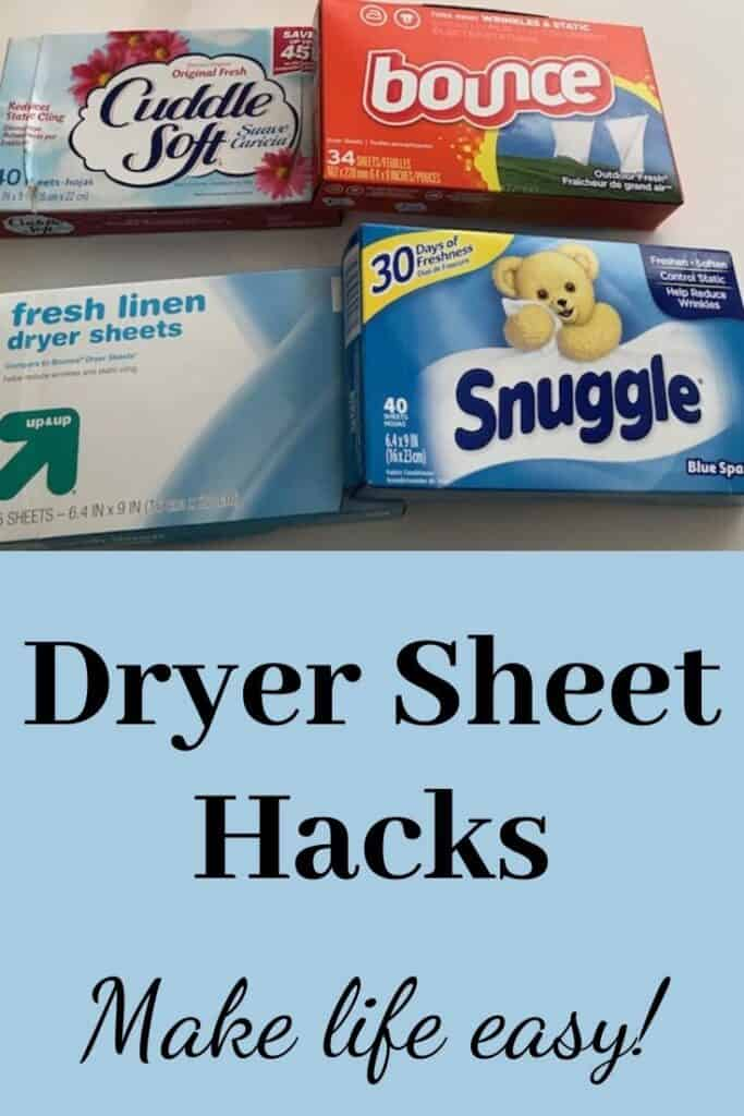 Dryer sheet hacks with 4 boxes of dryer sheets