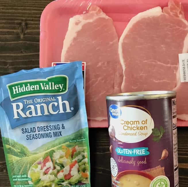 Pork chops, ranch mix, and cream of chicken soup