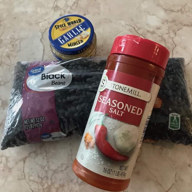 Black beans, seasoned salt, and minced garlic