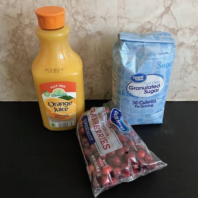 Cranberries, orange juice, and sugar