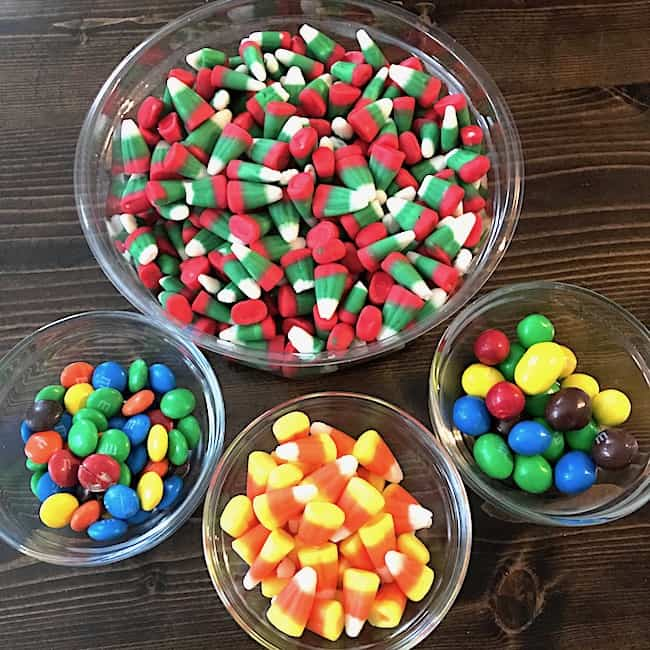 Candy corn and M&Ms for the sweet and salty snack mix