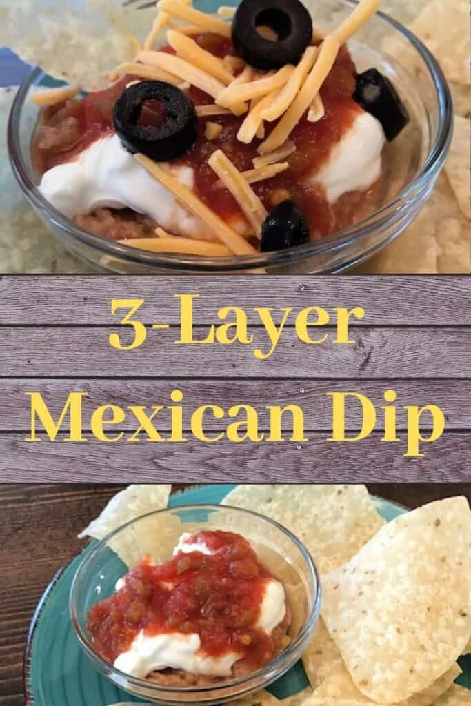 Bowls of 3-layer Mexican dip--one with cheese and olives and one without