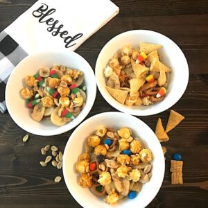 3 bowls of sweet and salty snack mix