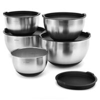 X-Chef Mixing Bowls with Lids, Stainless Steel Serving Storage Bowls Set of 5 with Measurement, Stackable & Non-slip