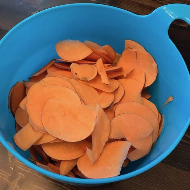 Bowl of sweet potato slices