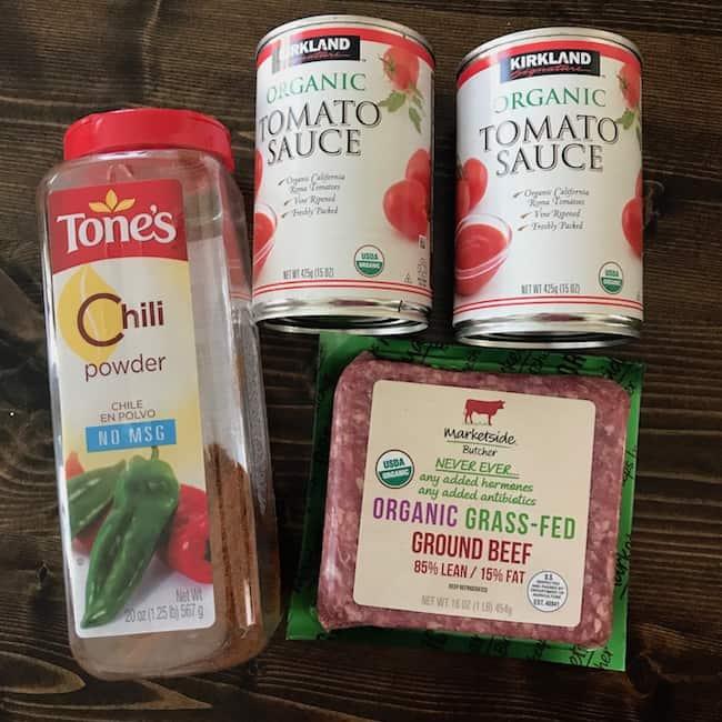 Ground beef, tomato sauce, and chili powder