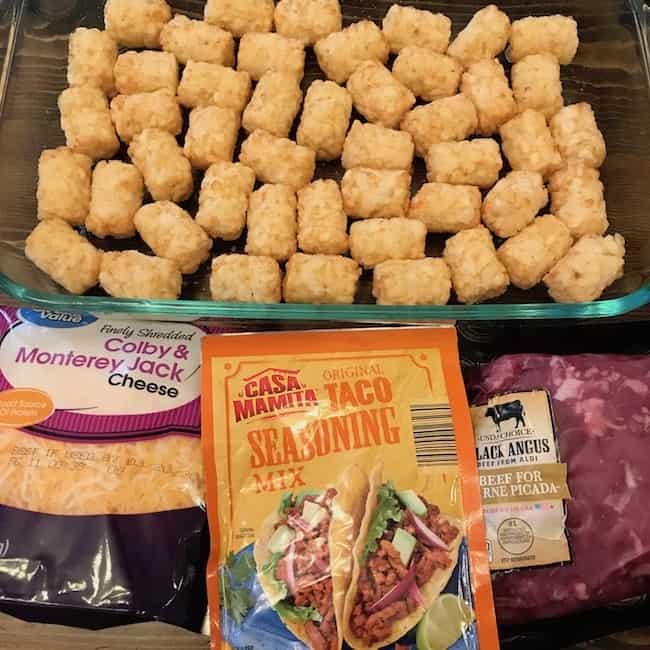 Tater Tots, cheese, taco seasoning, and beef