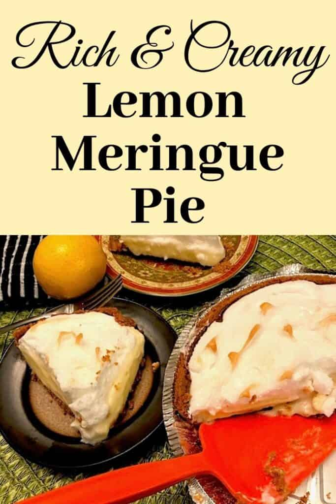 Rich and creamy lemon meringue pie with a slice on a plate beside the pie pan