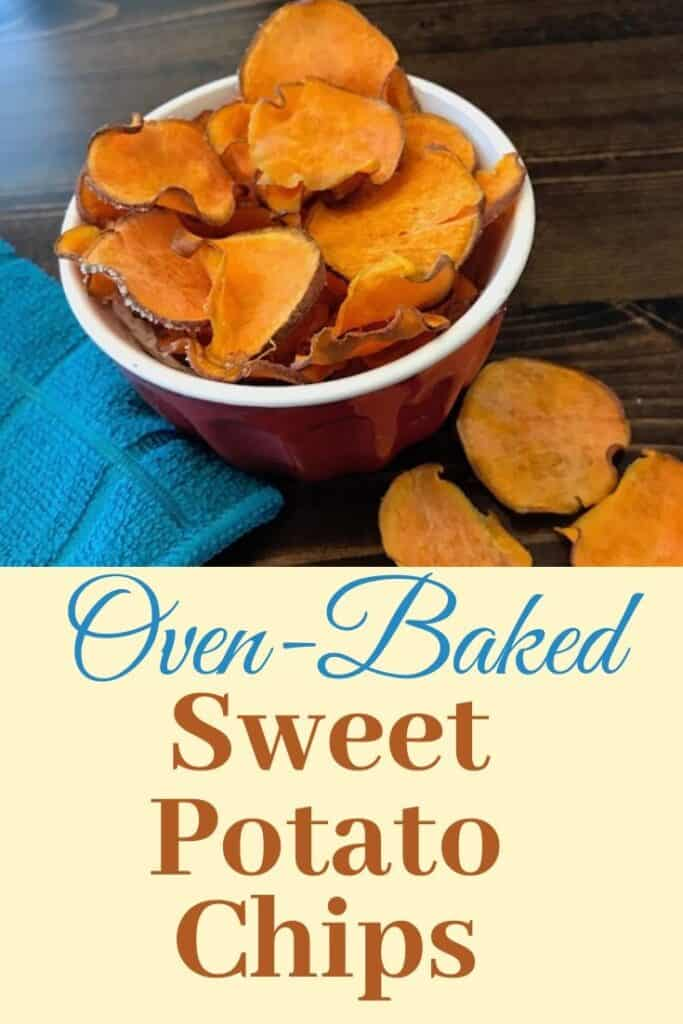 Oven-baked sweet potato chips in a bowl