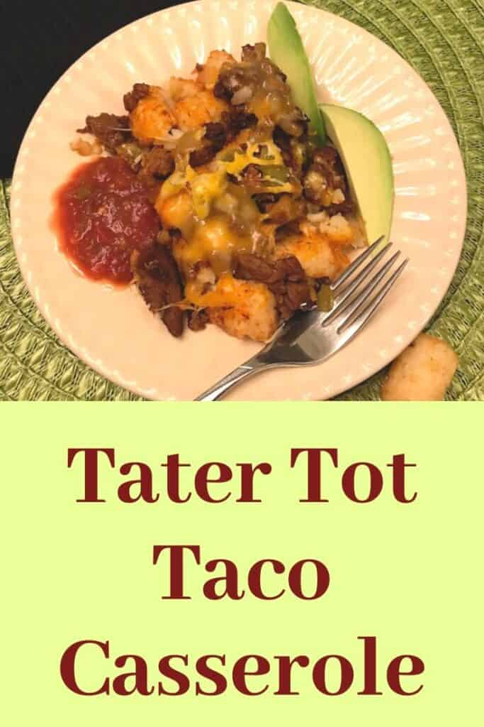 Tater Tot casserole with avocado and salsa