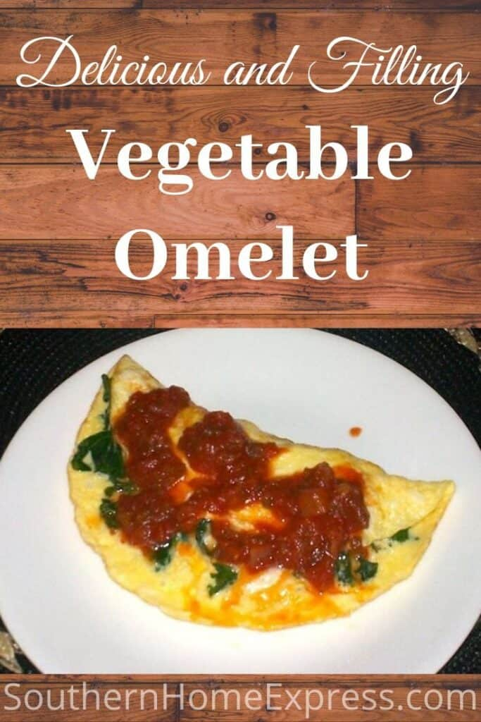 Vegetable omelet with spinach and salsa